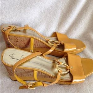 55fe9bf347b7 Franco Sarto Shoes - Franco Sarto Glare Yellow Wedge Sling Back